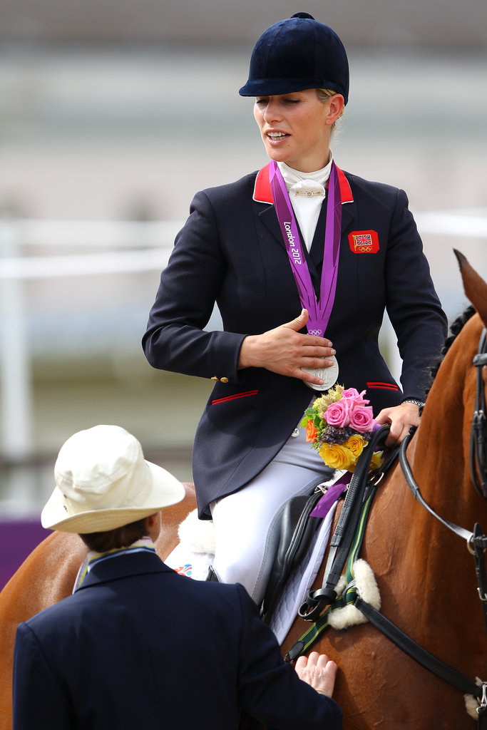 Zara Phillips held on to her new silver medal.