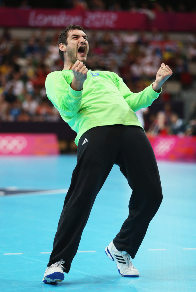 Croatia's goalkeeper Mirko Alilovic reacted during the men's handball preliminary match between Serbia and Croatia.