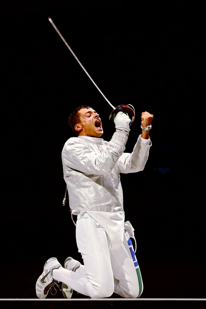 Italian fencer Diego Occhiuzzi was ecstatic after beating Romania's Rares Dumitrescu in their semifinal match.