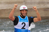 Tony Estanguet of France celebrated after winning the gold medal in men's canoe slalom.