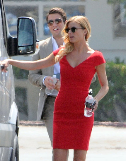 Emily VanCamp and Josh Bowman both wore sunglasses on set.
