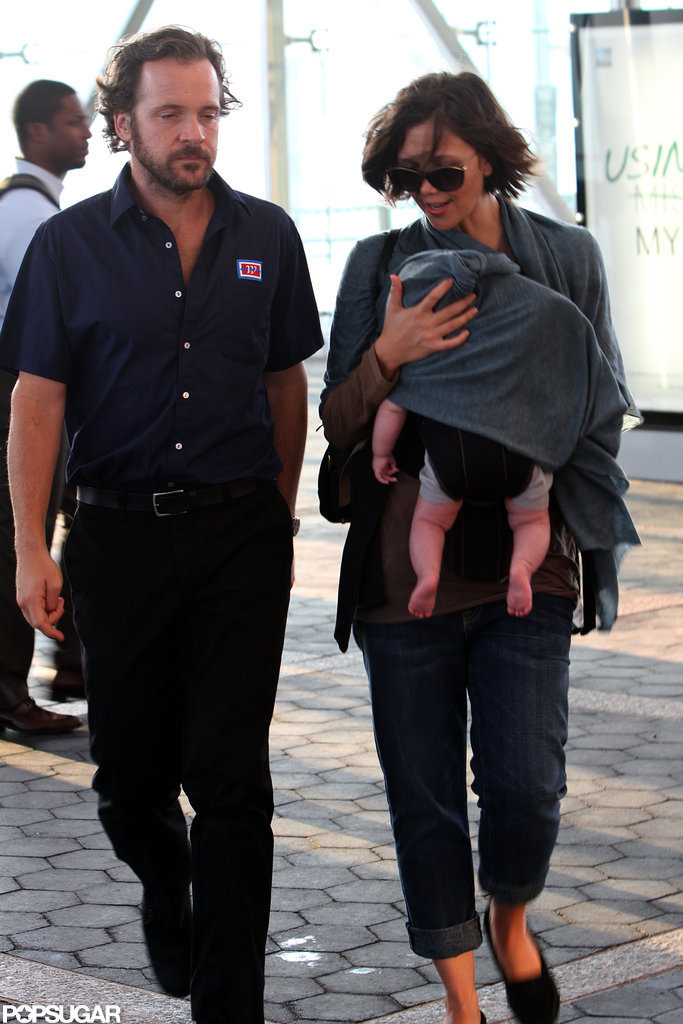 Peter Sarsgaard caught up with wife Maggie Gyllenhaal and baby Gloria on set in NYC.