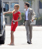 Emily VanCamp opened the door to the van with Josh Bowman right behind her.