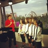 The US gymnastics team chatted with Bruce Jenner after their gold medal win.  Source: Twitter user jordyn_wieber