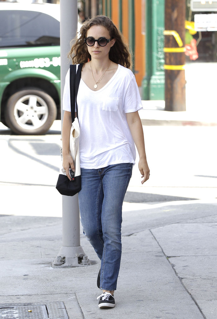 Natalie Portman wore a white t-shirt out in LA.