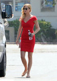 Emily VanCamp showed off her figure in a fitted red dress.
