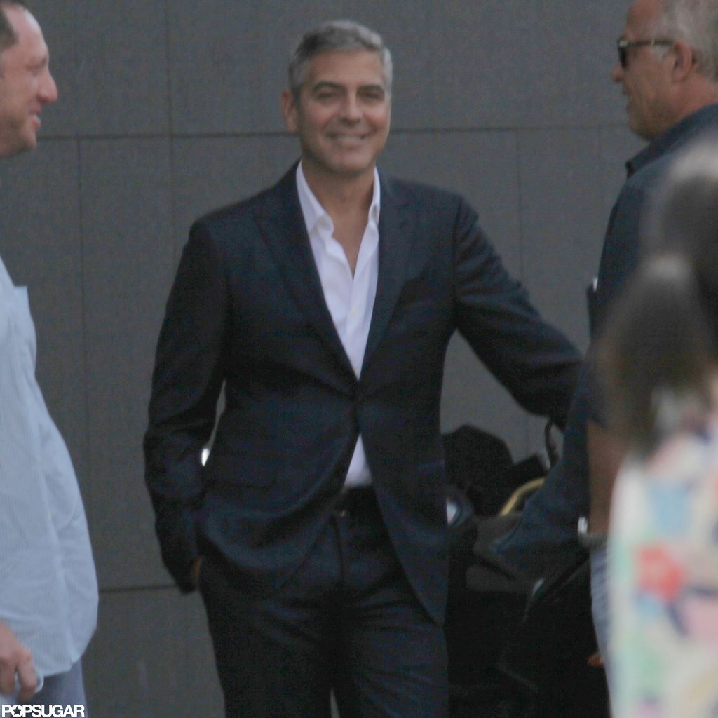 George Clooney got ready to film a commercial.