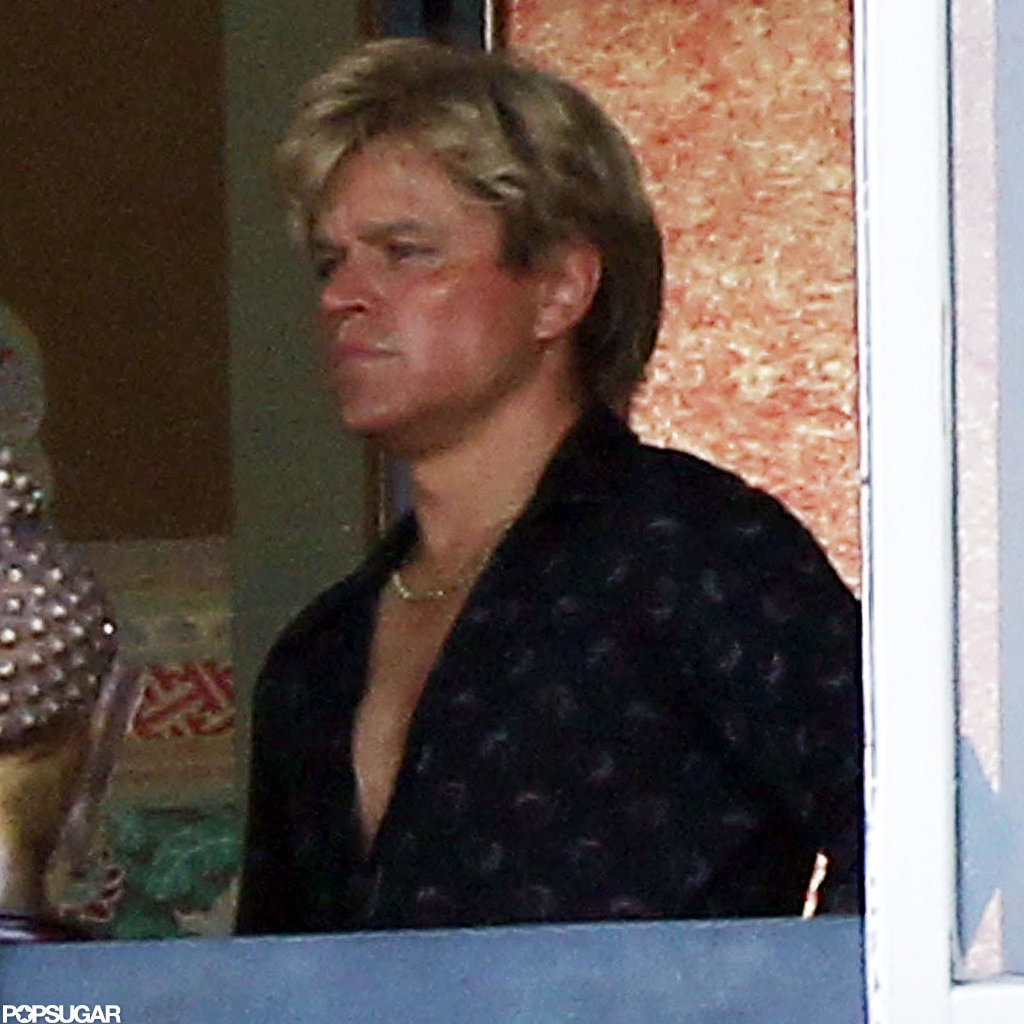 Matt Damon wore a blond wig on set.