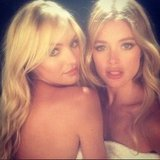 Candice Swanepoel and Doutzen Kroes posed together on set. Source: Instagram user doutzenkroes1