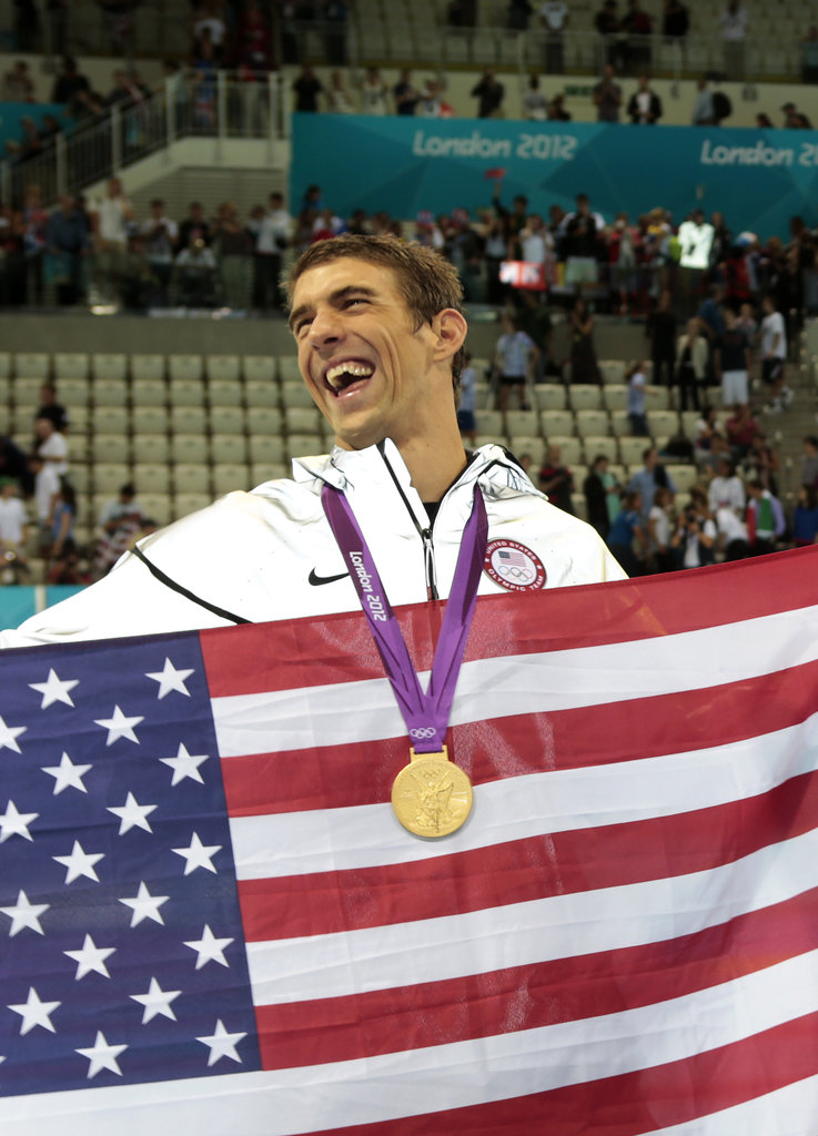 Michael Phelps celebrated his Olympic record.