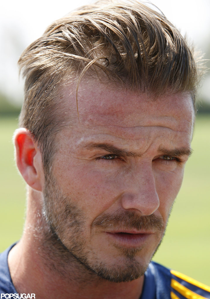 David Beckham attended soccer practice in LA.