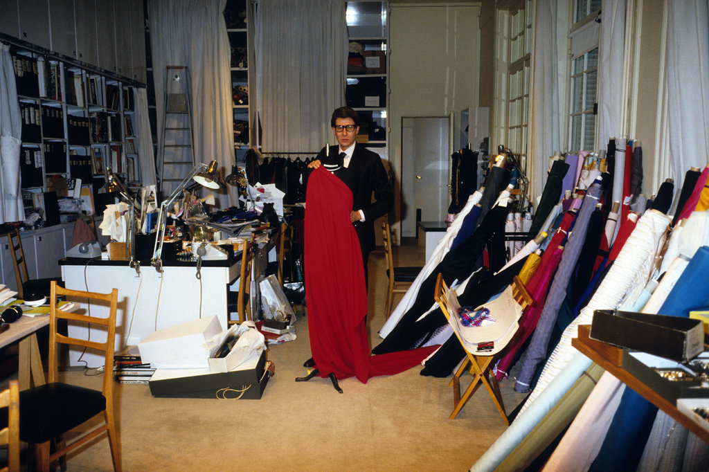 Yves Saint Laurent showed off his wares at his atelier in 1982.