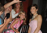 Jessica Biel smiled with a young fan before arriving at the Total Recall premiere in LA.
