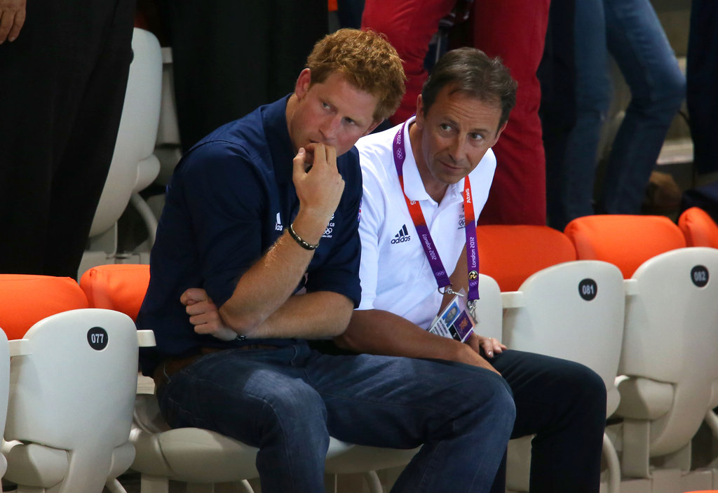 Prince Harry watched the divers at the Aquatics Centre in London.