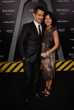 Colin Farrell posed with Claudine Farrell at the Total Recall premiere in LA.