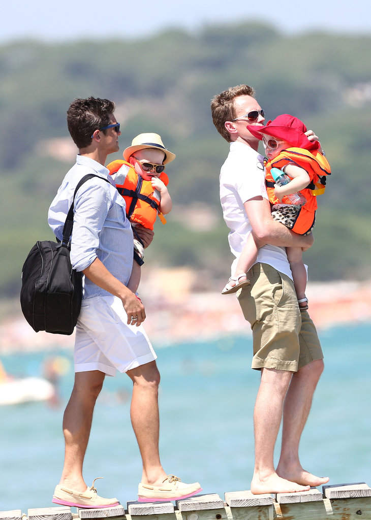 Neil Patrick Harris and David Burtka hit the beach with Gideon Burtka-Harris and Harper Burtka-Harris in Saint-Tropez.