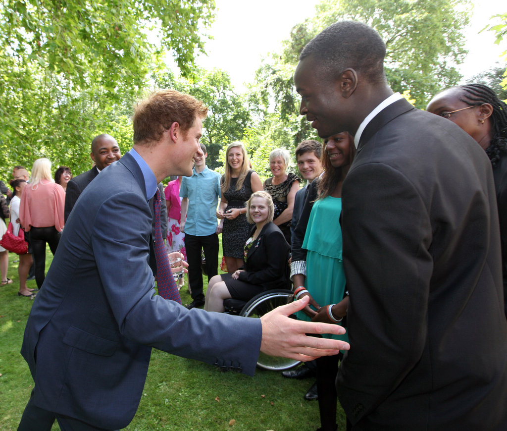 Prince Harry became acquainted with the athletes during the reception hosted at the Clarence House in London, England.