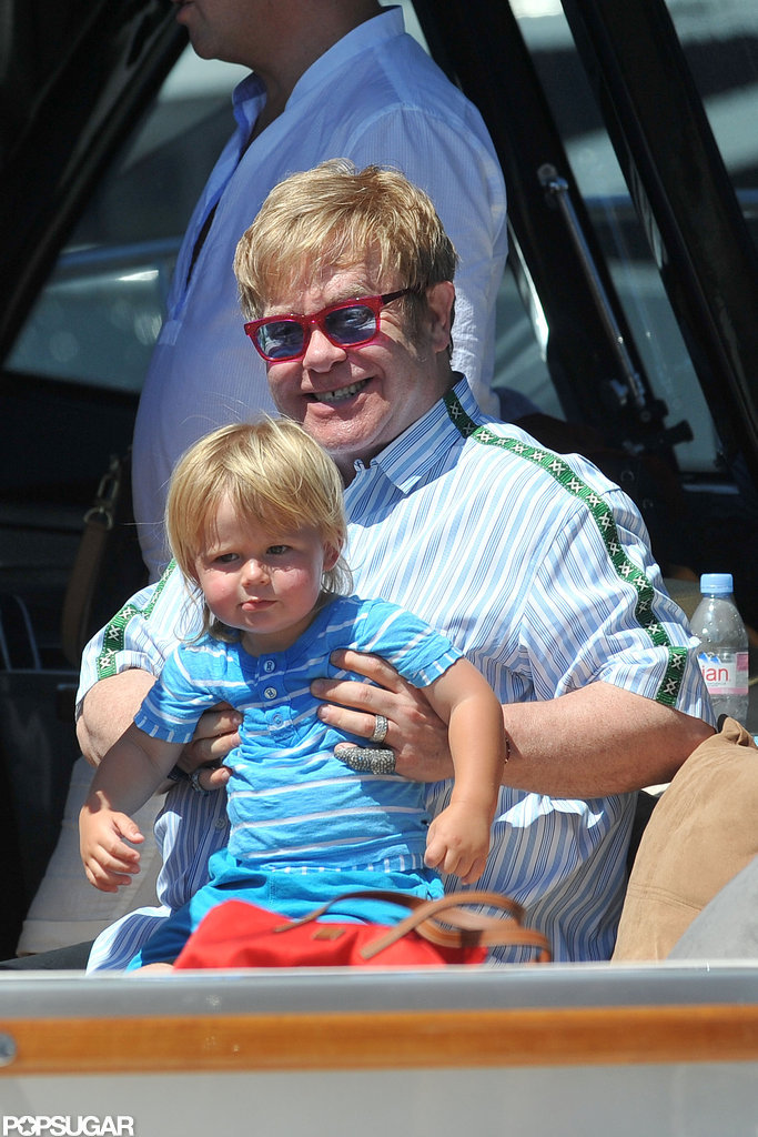 Elton John held his son Zachary Furnish-John.