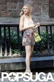 Blake Lively changed into a pair of snakeskin heels to shoot a scene for Gossip Girl.