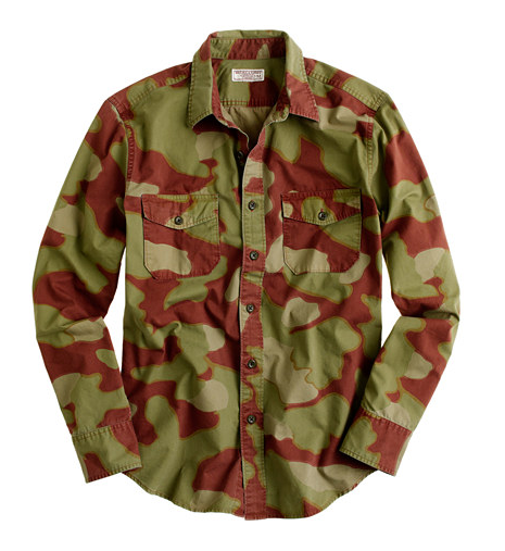 . . . like this awesome camouflage shirt (stolen from the men's section!).  Wallace & Barnes Camouflage Shirt ($168)