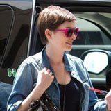 Anne Hathaway's Summer Style: Striped Maxi Skirt and Fuchsia Shades