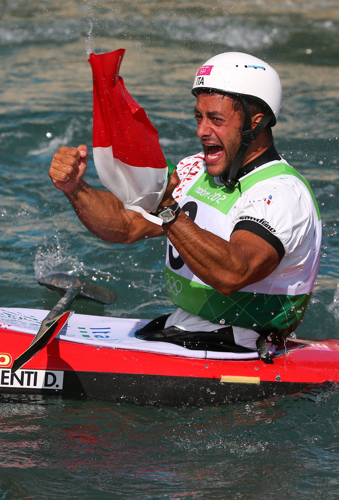 A tearful Daniele Molmenti of Italy was exuberant after his win in the men's kayak single race.
