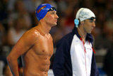 Ryan and Michael Phelps prepped ahead of their heat at the 2012 Olympic trials.