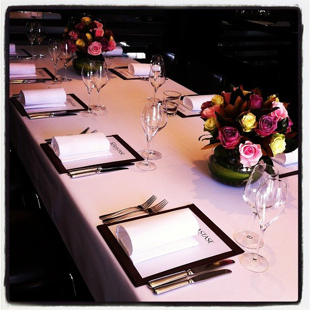 Beautiful table settings at Cafe Sydney for Kerastase.