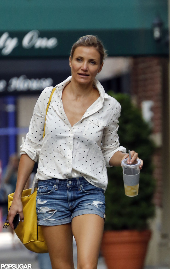 Cameron Diaz carried a beverage while taking a walk in NYC.