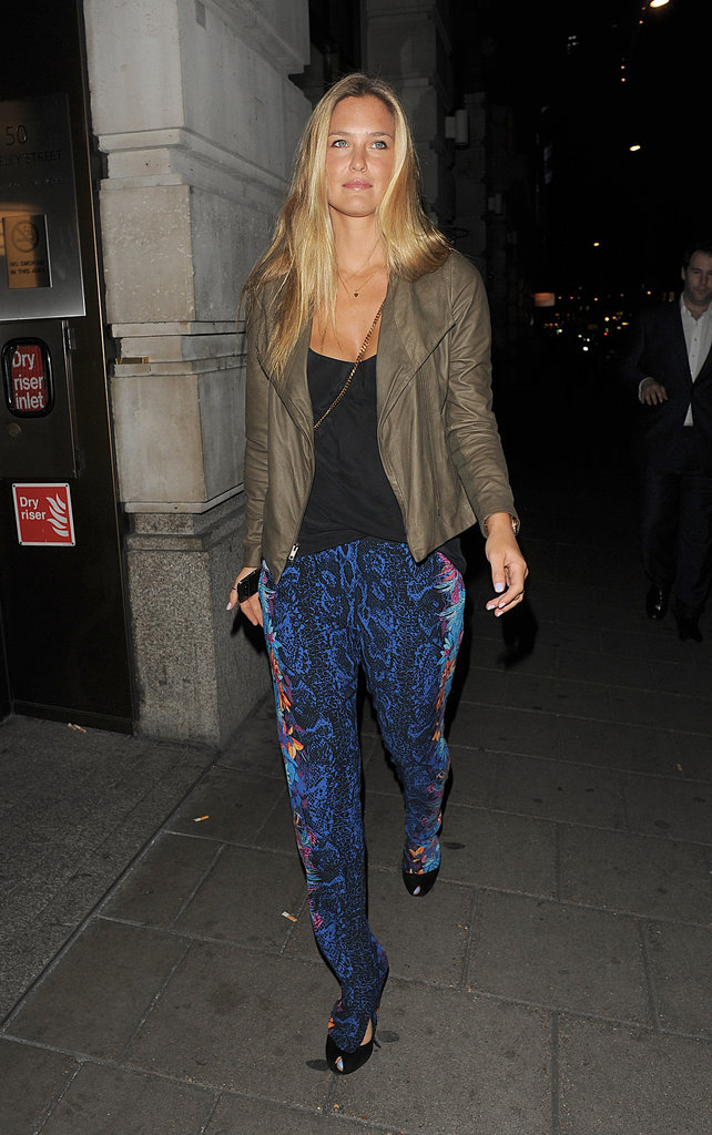 Bar Refaeli arrived at a London restaurant solo.