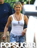 Jennifer Aniston wore a white tank top on the set of We're the Millers.