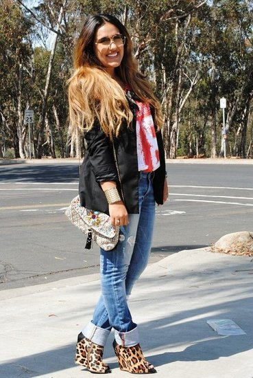 Black Blazer, Tee and Leopard