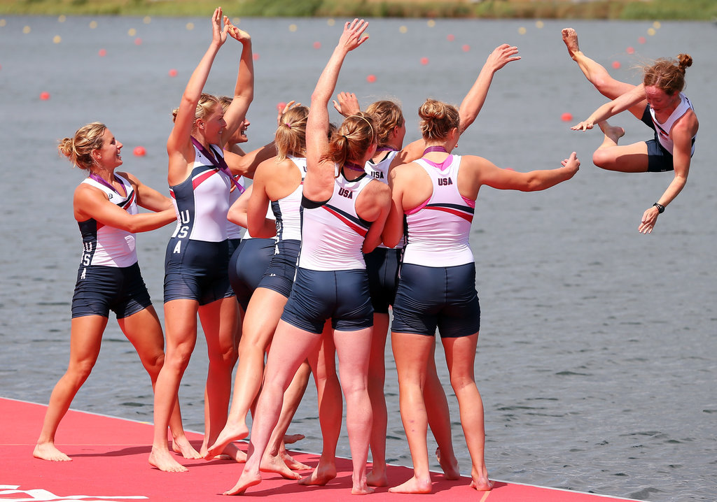 The US women's eight-oared crew rowed to their second straight Olympic gold. They celebrated by throwing coxswain Mary Whipple into the water!