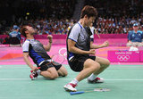 Korea's Yong Dae Lee and Jae Sung Chung got down on the ground to celebrate beating Indonesia in men's doubles badminton quarter final.