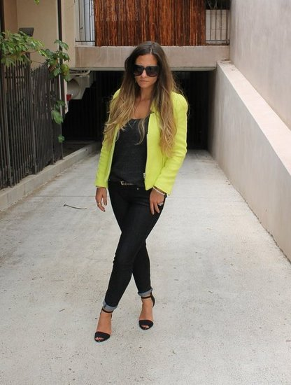 Neon Yellow Zara Blazer. Black Skinny Jeans