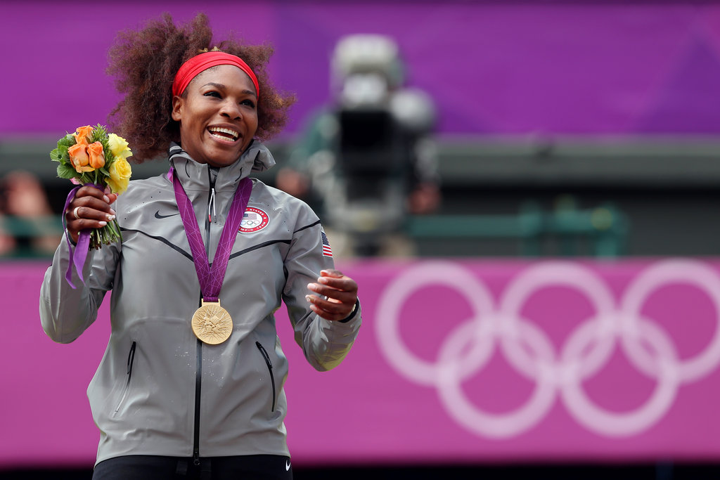 This is Serena William's first individual Olympic gold medal — she and sister Venus won gold in doubles at both the 2000, 2008, and 2012 Olympics.