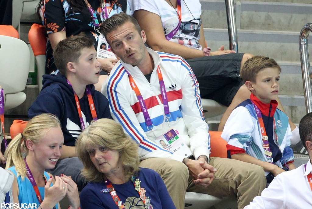 David, Cruz, Romeo, and Brooklyn Beckham watched diving.