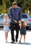 Ben Affleck brought Violet and Seraphina to the farmers market.