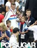 David, Cruz, Romeo, and Brooklyn Beckham watched sports at the Olympic Aquatics Center.