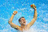 Team GB's diver Tom Daley splashed in joy after winning bronze.