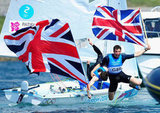 Sailors Luke Patience and Stuart Bithell of Great Britain were joyful after winning silver.