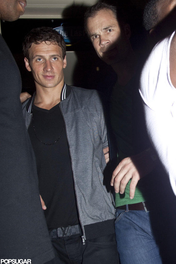 Ryan Lochte stayed out late celebrating the Olympics at a nightclub in London.
