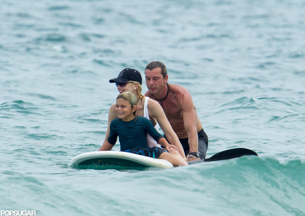 Gwen Stefani, Gavin Rossdale and their son checked out paddle boarding.