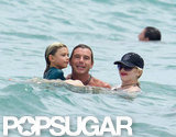 Gwen Stefani and Gavin Rossdale hung out with their son in the water.