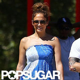 Jennifer Lopez was all smiles on a walk with Casper Smart and the twins.