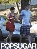 Zooey Deschanel held hands with boyfriend Jamie Linden.