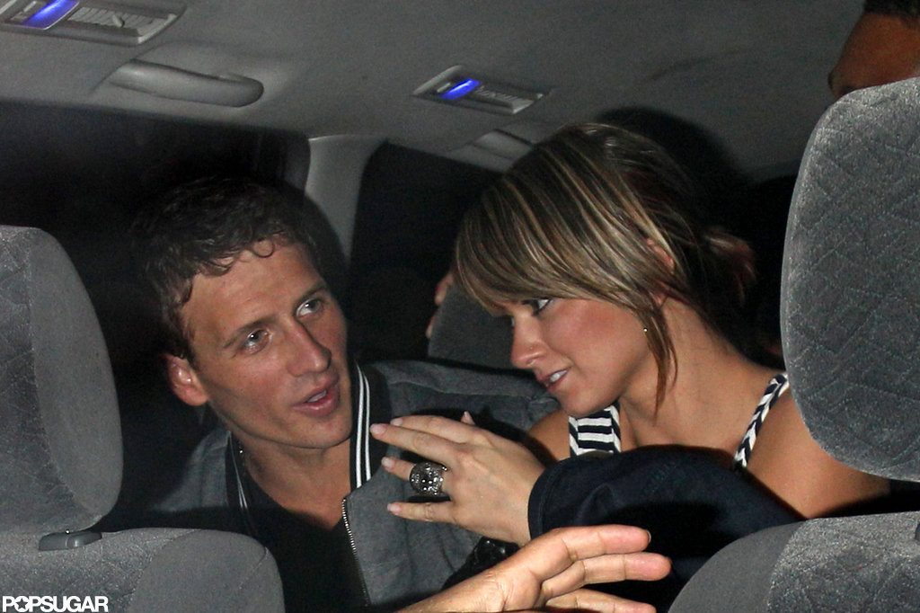 Ryan Lochte chatted with female friends after a night out in London.