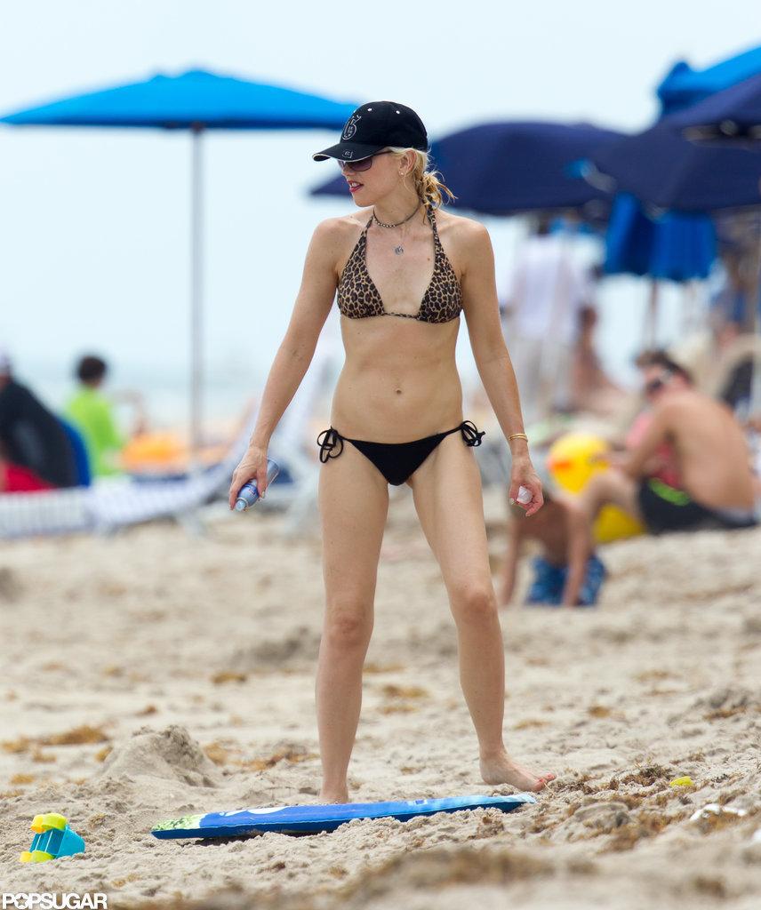 Gwen Stefani wore a cheetah print bikini in Miami.