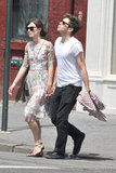 Keira Knightley and fiancé James Righton held hands for a walk.