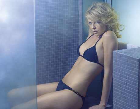 Charlize Theron sported a black bikini in the October 2008 issue of Esquire.